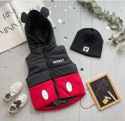 Детская теплая жилетка с капюшоном Микки