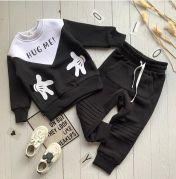 """Детский спортивный костюм с подчесом """"HUG ME"""" (черный)"""