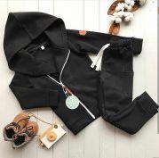 Детский костюм КОСУХА из трикотажа с начесом (черный)