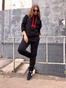 Теплый женский спортивный костюм с вортником хомут (черный)