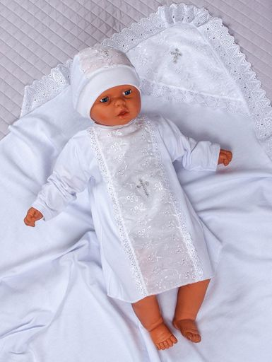"""Набор для крещения младенца с кружевной отделкой """"Ангел"""" (белый)"""