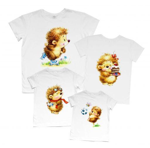 """Семейный набор футболок с принтом Family look """"Ёжики"""""""